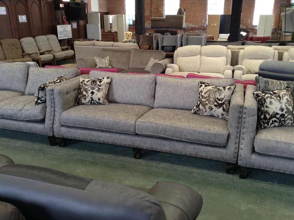 2 X GREY STUDDED 3 SEATER SOFAS 2 SEATER SOFA AND FOOTSTOOL