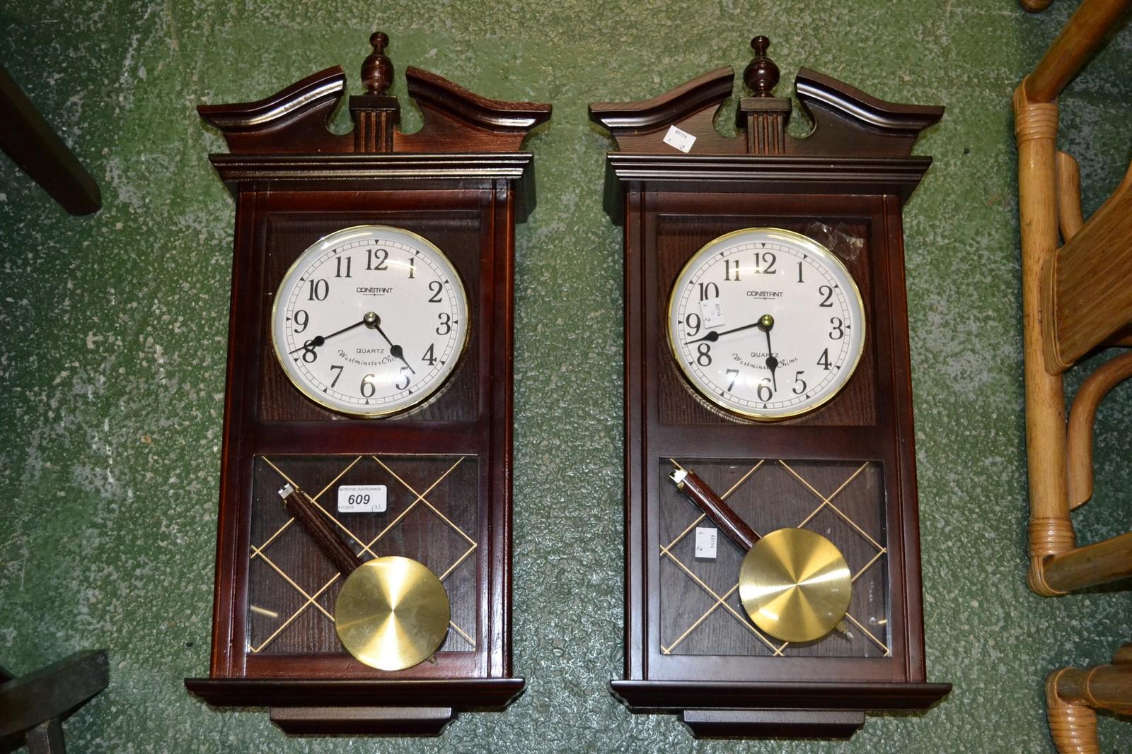 Lot 609 A Pair Of Constant Quartz Westminster Chime Wall Clocks
