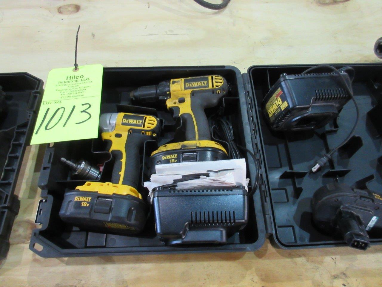 Lot 1013 - DeWalt 18 Volt Cordless (1) Drill Driver and (1) Impact Drill