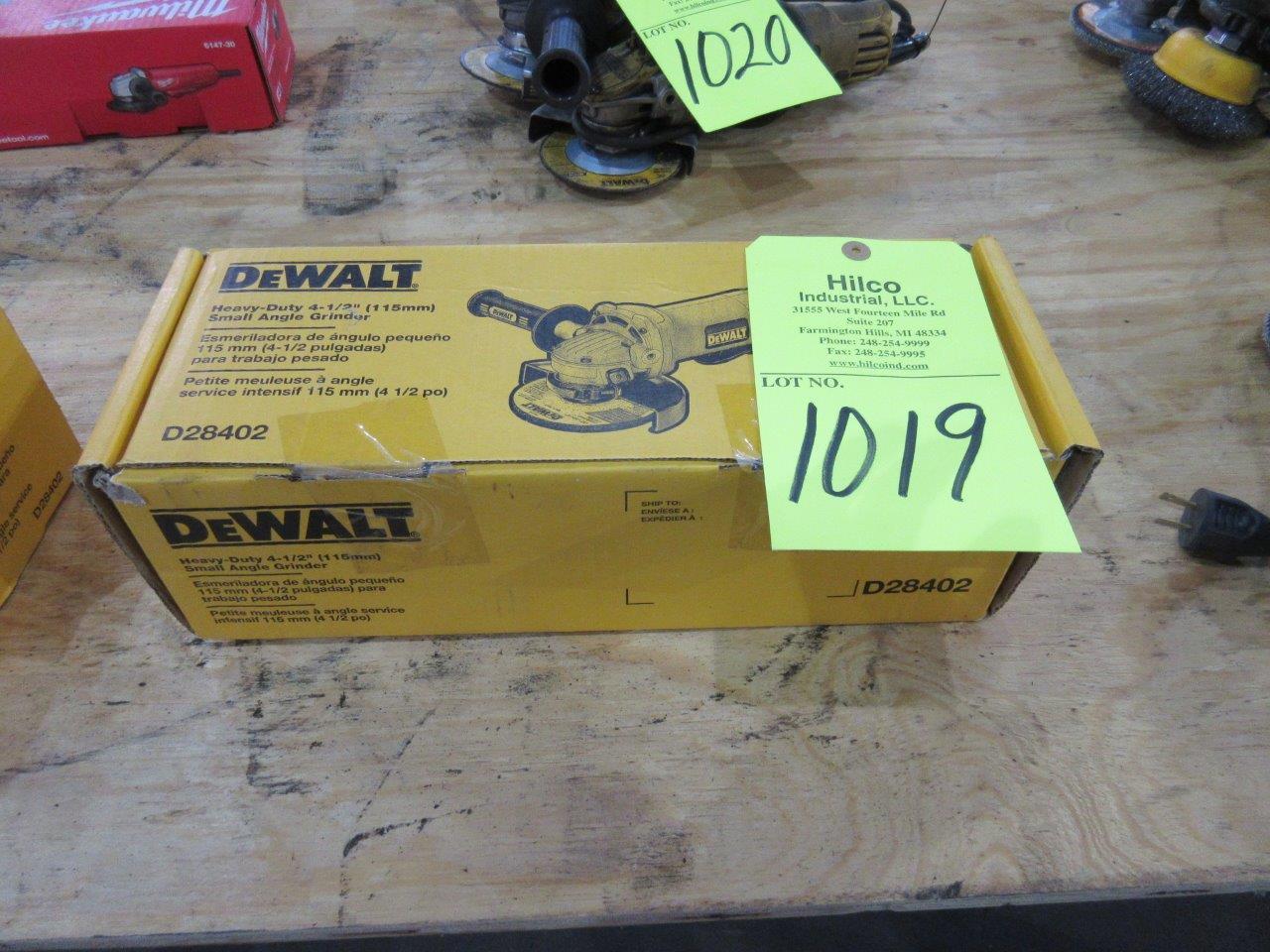 """Lot 1019 - DeWalt Model D28402 New 4 1/2"""" Angle Grinder"""