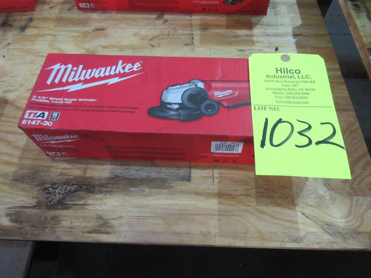 "Lot 1032 - Milwaukee Cat # 6147-30 New 4 1/2"" Angle Grinder"