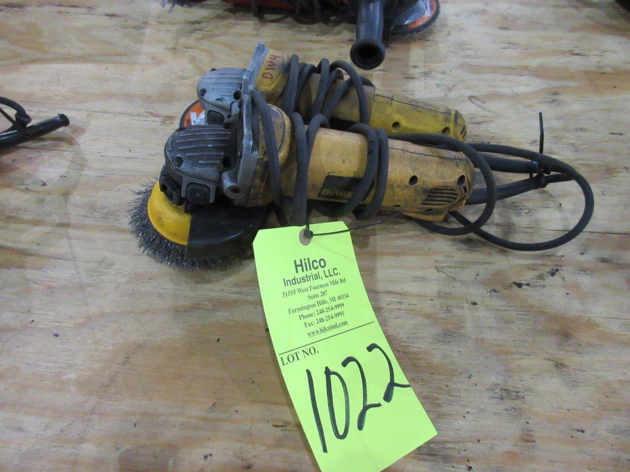 """Lot 1022 - DeWalt Model D28402 4 1/2"""" Angle Grinders"""