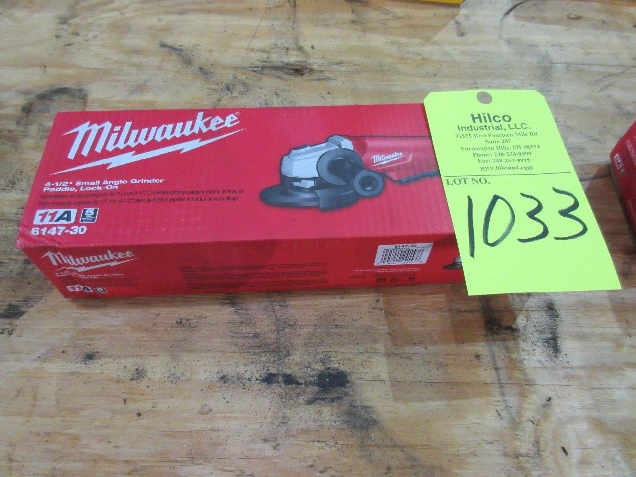 "Lot 1033 - Milwaukee Cat # 6147-30 New 4 1/2"" Angle Grinder"