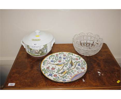 An Alsace tureen; a continental pottery platter decorated with birds and a heavy cut glass fruit bowl