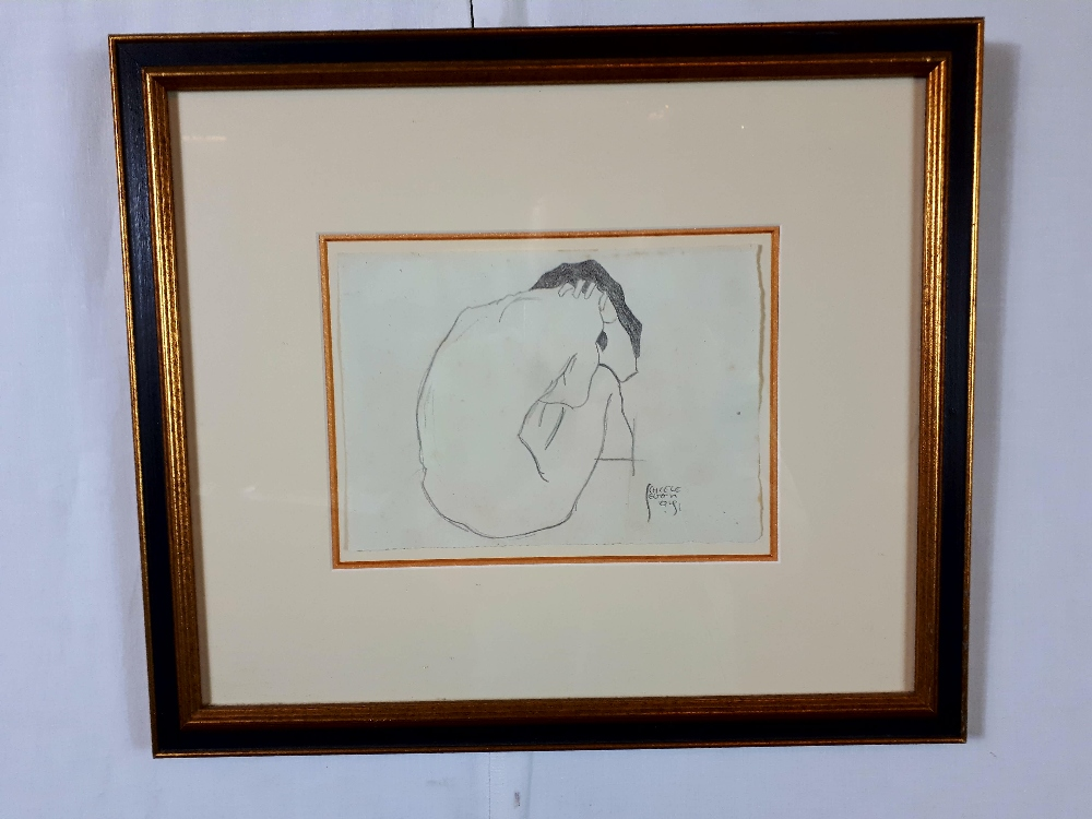 Lotto 174 - Schiele Egon antique pencil drawing of a nude lady signed 8.5 Inches x 6 Inches.
