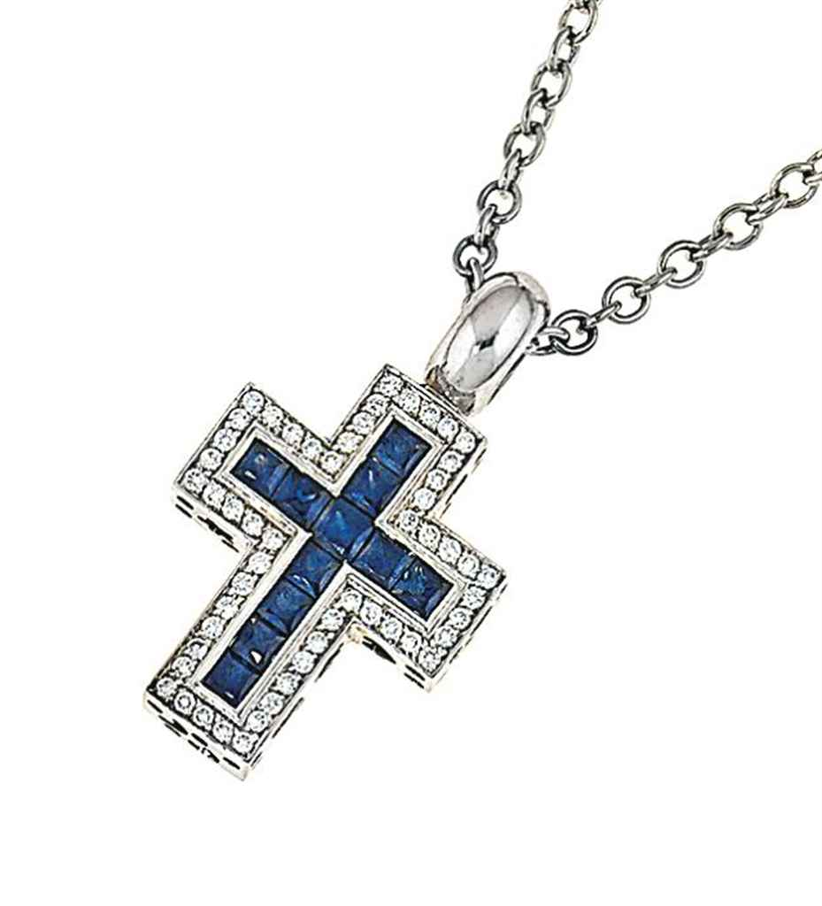 pendant square de twisted fleur lis blade cross silver