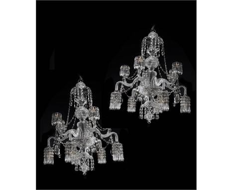 A pair of English cut glass ten light chandeliers, attributable to the manufactory of F and C Osler, Birmingham, early 20th c