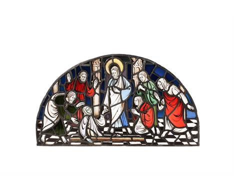 A stained glass overdoor, The Raising of Lazarus, probably English, possibly incorporating Medieval elements, of demilune for