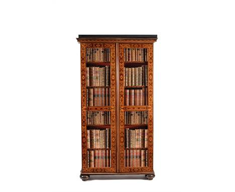 A pair of French marquetry bookcases, in Louis XVI style, late 18th century, one premiere-partie, the other contre-partie, ea