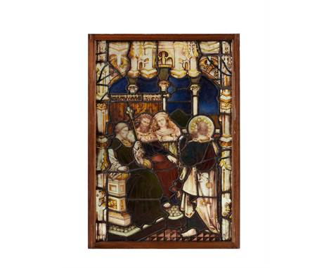 A Biblical stained glass panel, St Paul before Porcius Festus, probably incorporating 15th or 16th century elements, the enth