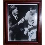 "Cy Young and Bob Feller Wood Framed Photo, Signed ""Bob Feller"" , 9""x11"""