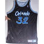 """Shaquille O'Neal #32, Magic 1992-193 Game Worn Jersey Wood Framed, 40""""x32"""""""