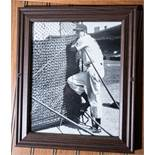 """Wood Framed Ted Williams Picture, 12""""x10"""""""