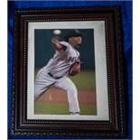 """Pedro Martinez Wood Framed Photo, 12""""x10.5"""""""