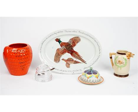 A William Yeoward glass preserve jar, a Richard Bramble 2011 'Happy Shooting' oval platter, hunting scene jug and other items