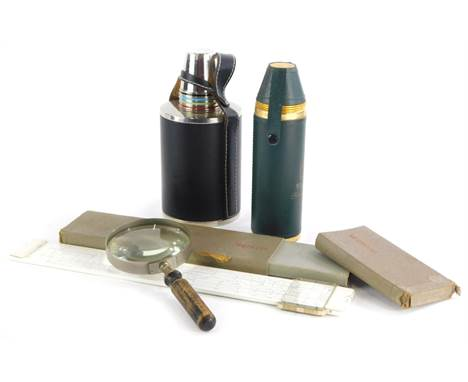 A collection of items, to include magnifying glass, a Wallace single malt set of flask with cups, a similar West German flask