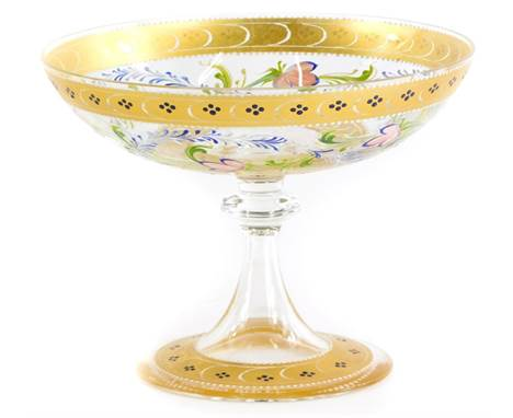 A Venetian glass tazza or stand, with enamel decoration of flowers, leaves, within gilt borders, signed to base Decorato A.Ma