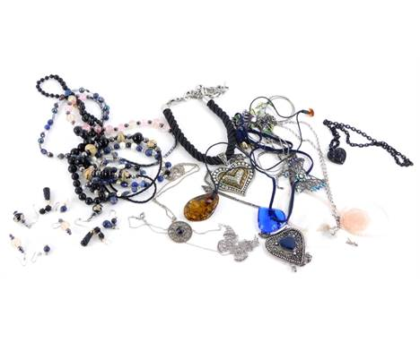 Various modern necklaces and earrings, comprising natural stone beaded necklaces, glass beaded necklaces, Murano bead style n