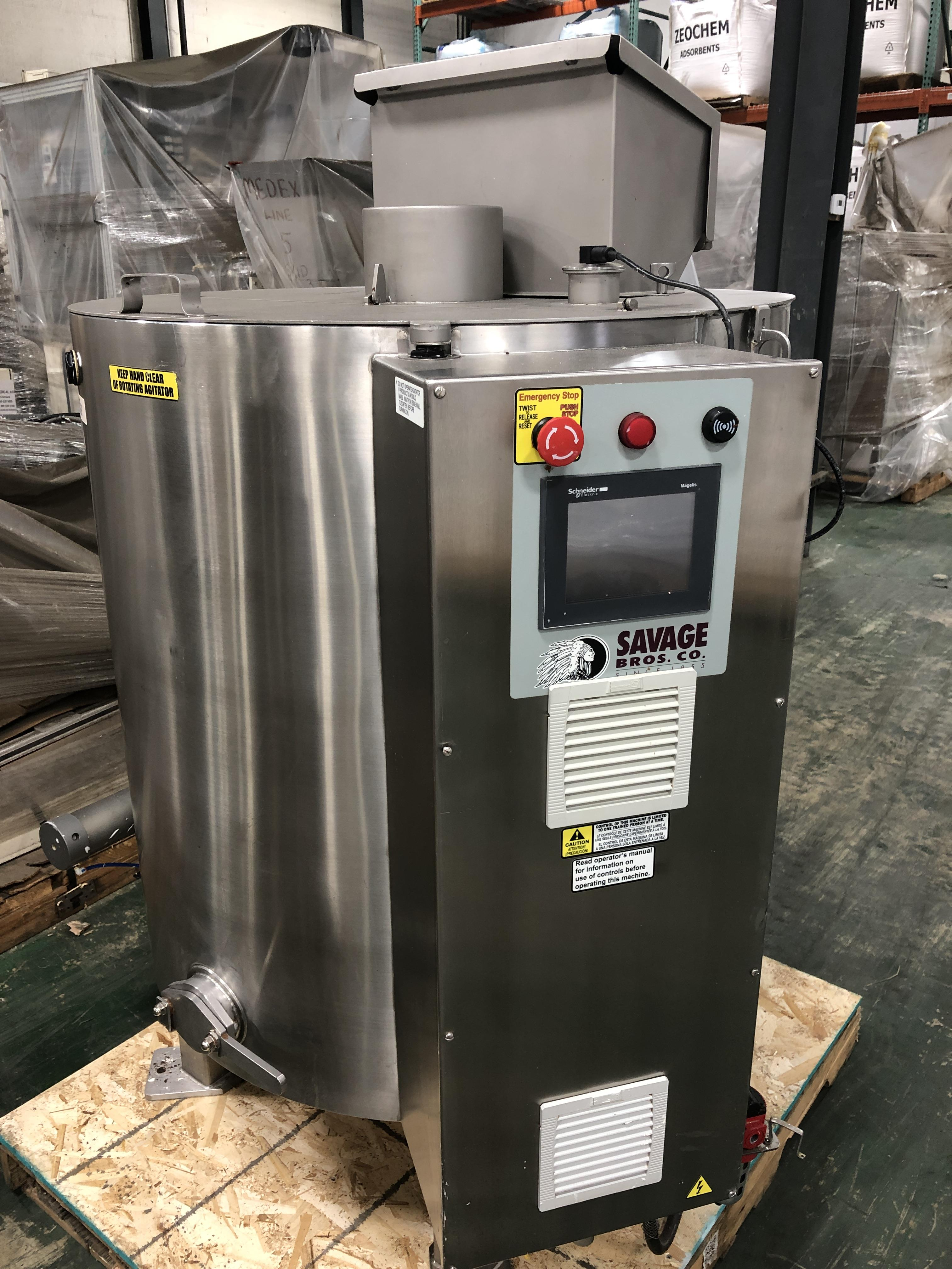 Lot 40 - Savage Stainless Steel 1250-lb Chocolate Melter, model 0974-36, with PLC touchscreen controls, water