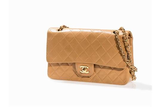 Chanel Beige Quilted Classic Flap Bag 2 55 France 1996