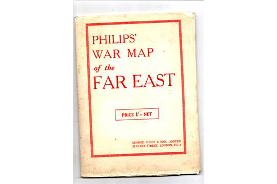 WW2 1942 Philips War Map of The Far East colour opens out good