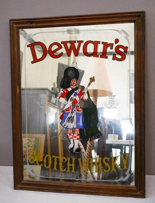 Lot 42 - Pub mirror; Dewars Scotch Whisky mirror, 58 by 76cm.