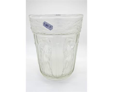 A  1930's Josef Inwald Frosted and Clear Glass Vase, of slightly tapered form, moulded in six panels with maidens holding urn