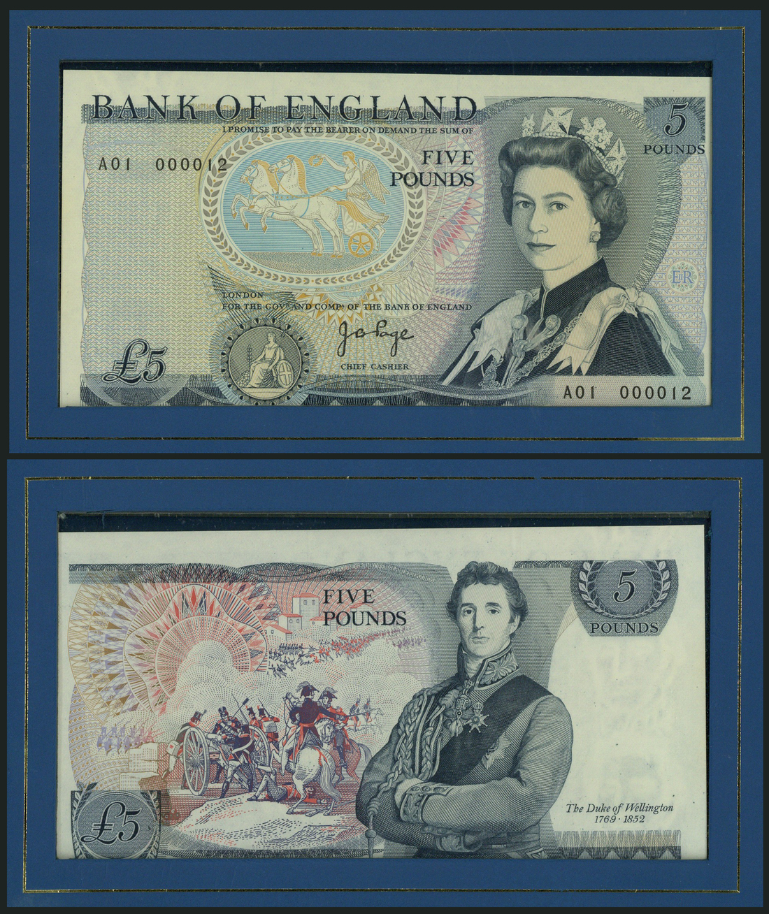 Lot 2922 - Bank of England, J B Page, £5, ND (1979), serial number A01 000012, (EPM B332),