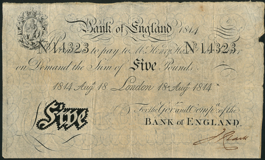 Lot 2867 - Bank of England, Henry Hase, £5, 18 August 1814, serial number 14323, (EPM B201g),