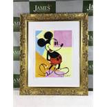 "Andy Warhol ""Mickey"" Lithograph-Ornate Framed, Certificated Plate Signed Edition"