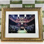 "Banksy ""Monkey Parliament"" High Quality Print, Ornate Framed."