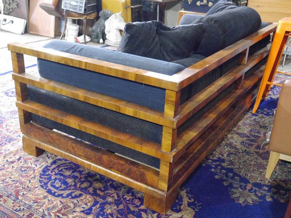 Lot 5 - French Art Deco Burr Walnut Daybed Sofa