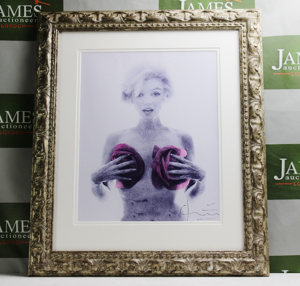 Lot 8 - Marilyn With Roses By Bert Stern Lithograph Ornate framed