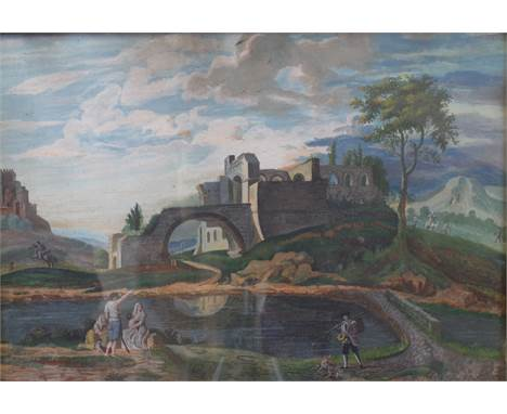 Italian School, early 19th Century, Figures in an Arcadian landscape, gouache, 32 x 47cm Condition Report Under glass, needs