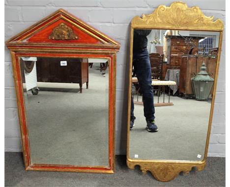 A George I style gilt framed pier glass, 48cm wide x 106cm high, together with an 18th century Italian style parcel gilt and