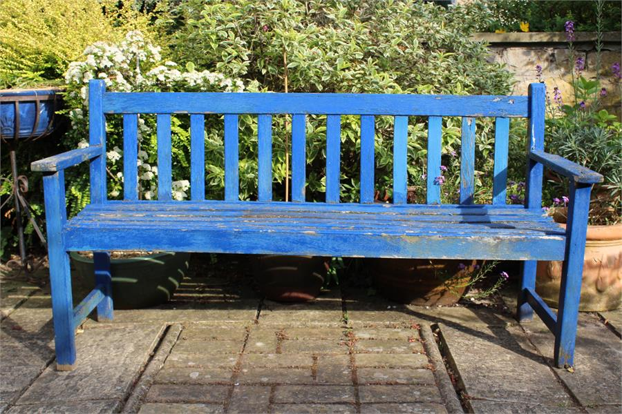 Lot 3 - Blue painted weathered teak garden bench. The dimensions are 54 cm in depth, 82 cm in height by