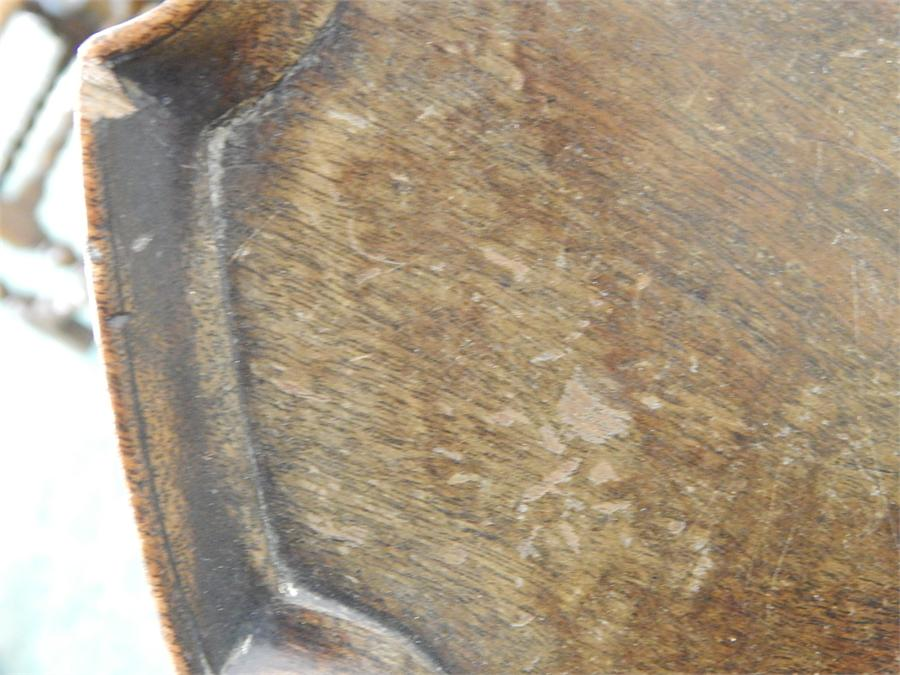 Lot 61 - A Piano Stool base with pie-crust tray top table conversion, appears to be a solid top, moulding not