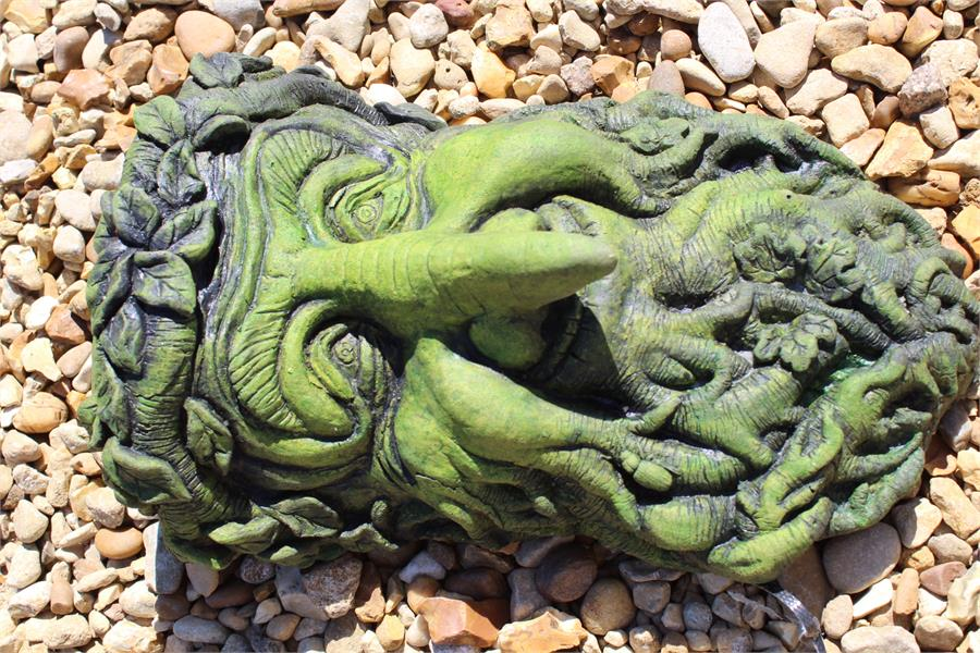 Lot 8 - Weatherproof stone effect green man with a hook nose