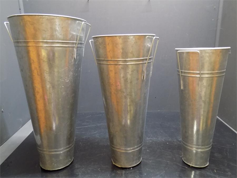 Lot 53 - three galvanized pots