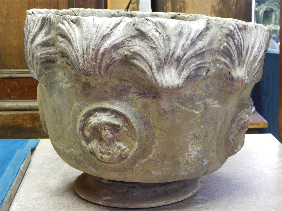Lot 31 - A Single 18th Century Lead Planter, of circular form with relief decoration of period gentleman