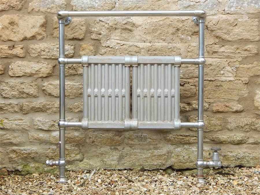 Lot 38 - Chrome and Steel Central Heating Towel rail early 20th Century.