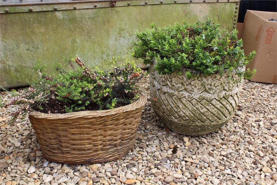Lot 25 - garden pots / planters inc terracotta (as found), basket effect, olive colour, concrete.