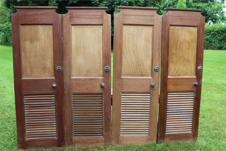 """Lot 28 - Salvage - four ships lavatory doors with """"engaged"""" fitting. may suit as shop fitting for changing"""