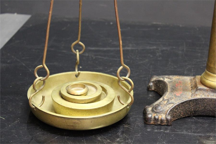 Lot 50 - 19th century balance Scales - Hunt and Co - brass and pottery.
