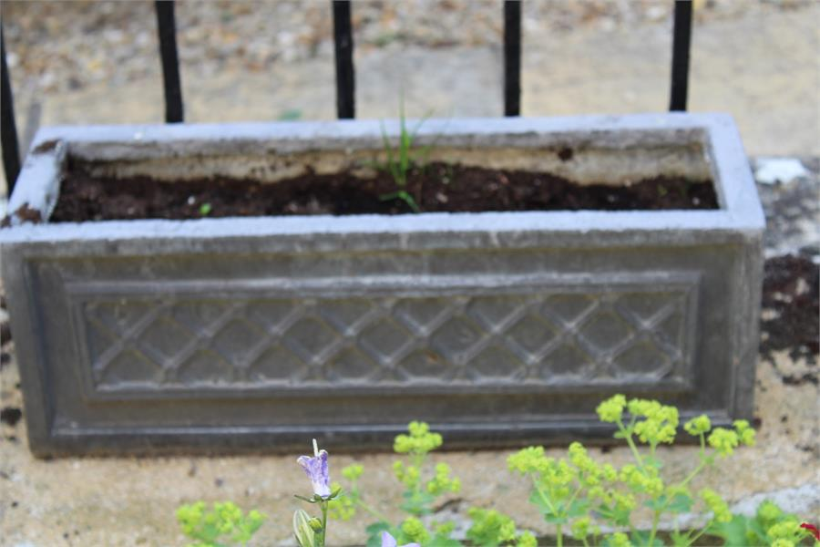 Lot 35 - Five lead effect square and rectangular planters
