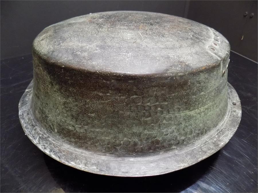 Lot 37 - Brass verdi-gris patinated twin handled jam pot bowl