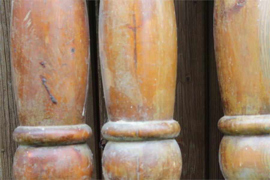 Lot 22 - Salvage - Pine newel posts with acanthus carved urn shaped finials, 19th century, traces of old