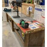 """Custom MDF Workbench (Approximately 314cm In Length), with Record Vice, Osaki 6"""" Benchtop Grinder,"""