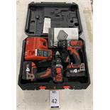 Milwaukee Twin Cordless Drill Set (Located Norwich – See General Notes for Viewing & Collection
