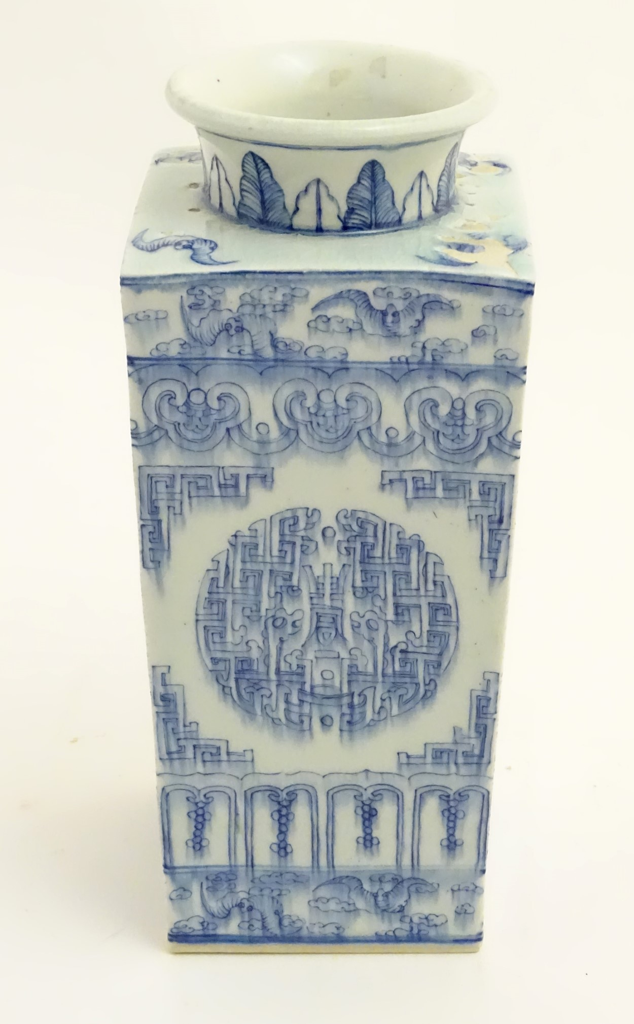 Lot 3 - A Chinese blue and white Cong shaped vase,